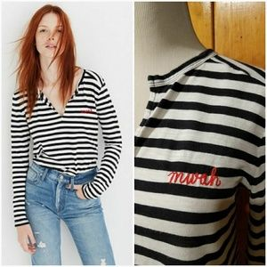Madewell Embroidered Whisper Cotton Split-Neck Tee